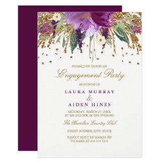 Cartão Amethyst Sparkling floral da festa de Convite 12.7 X 17.78cm