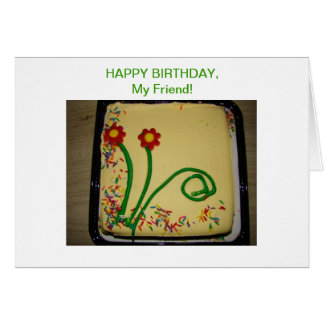 Cartão Amigo do feliz aniversario, bolo amarelo