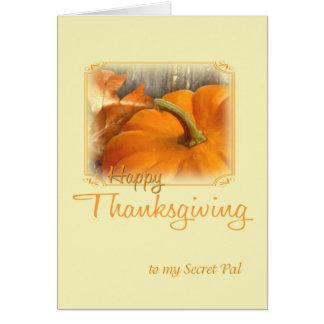 Cartão Amigo feliz do segredo da acção de graças