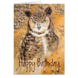 Cartão Amigo selvagem & louco da grande coruja Horned do