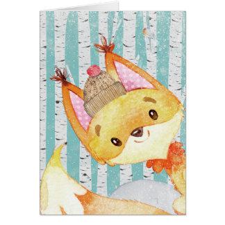 Cartão Amigos animais da floresta no Floresta-Fox do