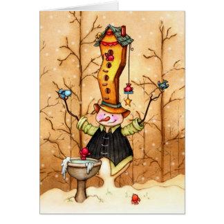 Cartão Amigos do boneco de neve e do pássaro -