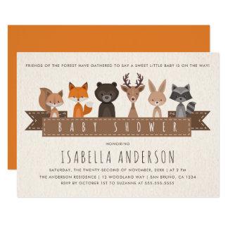Cartão Amigos do chá de fraldas dos animais da floresta