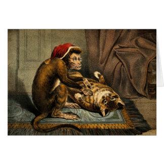 Cartão Amigos do macaco & do gato
