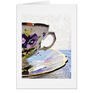 Cartão-Amizade floral do vazio do copo de chá dos Cartão De Nota