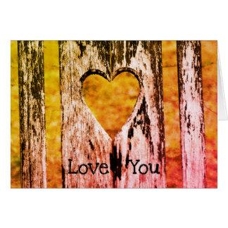 """Cartão """"Amor customizável você"""" parte traseira de madeira"""