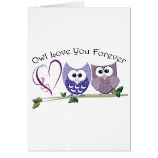 Cartão Amor da coruja você para sempre, as corujas