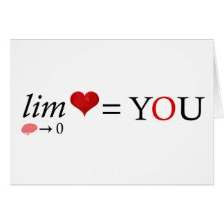 Cartão Amor da matemática
