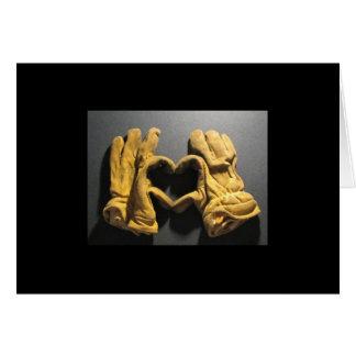 Cartão Amor da mostra das luvas do sapador-bombeiro