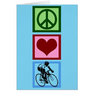 Cartão Amor da paz que dá um ciclo o ciclista azul