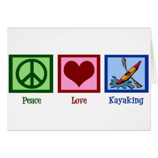 Cartão Amor da paz que Kayaking