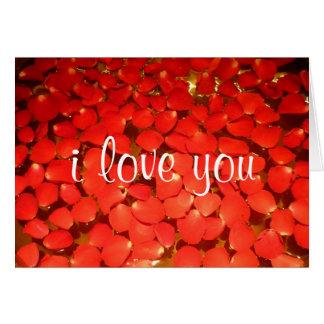 Cartão amor da pétala cor-de-rosa