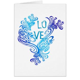 Cartão Amor das ondas do roxo e do azul