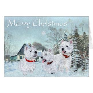 Cartão Amor de Westies o inverno