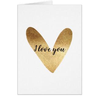 Cartão Amor do coração do ouro