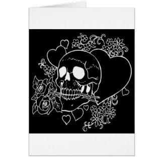 Cartão Amor do crânio - crânios, rosas e corações pelo Al