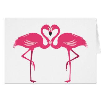 Cartão Amor do flamingo