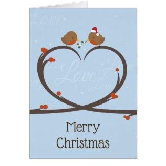 Cartão Amor do Natal do pisco de peito vermelho