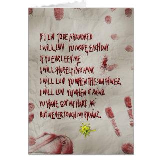 Cartão amor do zombi