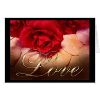 Cartão Amor dos dólares de areia das rosas vermelhas