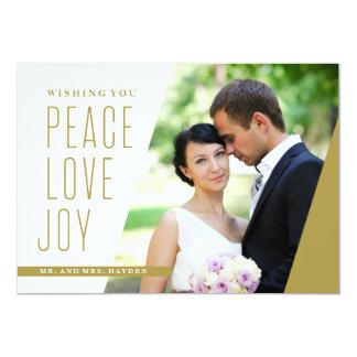 Cartão Amor e alegria da paz em um ângulo