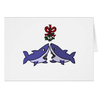 Cartão Amor engraçado do visco do tubarão do Natal
