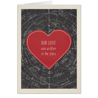 Cartão Amor escrito no dia dos namorados das estrelas