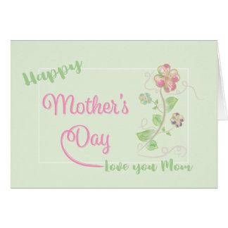 Cartão Amor feliz do dia das mães você mamã