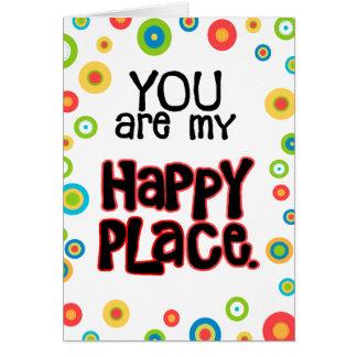 Cartão Amor feliz dos namorados do lugar