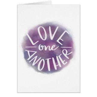 Cartão Amor Mão-Indicado por letras um outro de Bokeh da