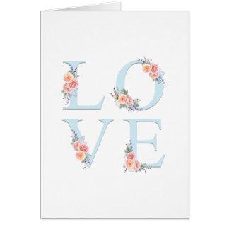 Cartão Amor na tipografia floral romântica da flor