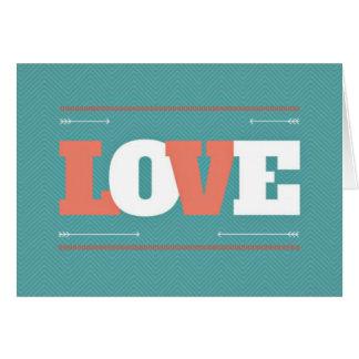 Cartão Amor Notecards da cerceta & dos namorados do coral