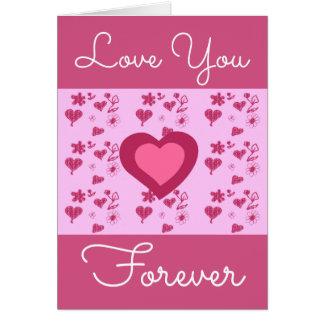 Cartão Amor que cor-de-rosa brilhante você carda para