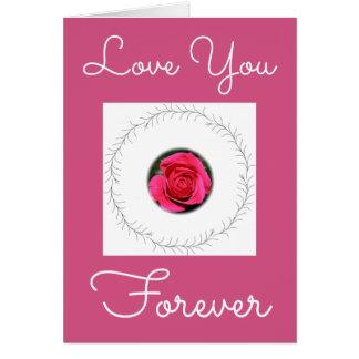 Cartão Amor que do rosa do rosa você carda para sempre