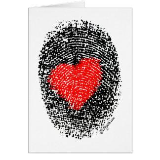 Cartão Amor secreto da impressão digital do coração do