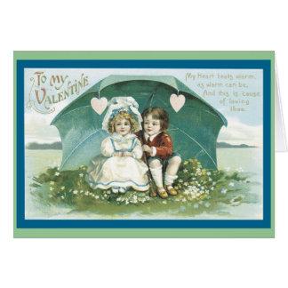 Cartão Amor sob um guarda-chuva