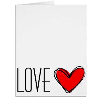 Cartão AMOR vermelho do coração
