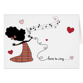 Cartão Amores da irmã a cantar…