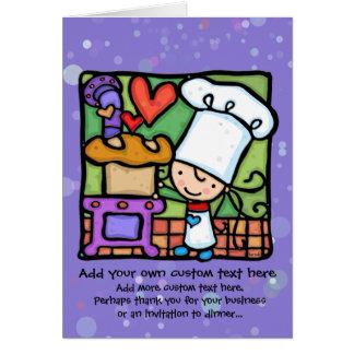Cartão Amores da menina para cozer o pão