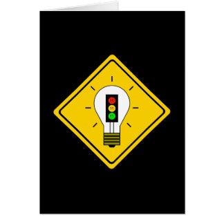 Cartão Ampola temperamental do sinal de trânsito adiante