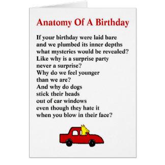 Cartão Anatomia de um aniversário - um poema subtil do