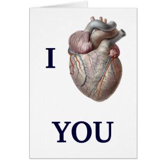 Cartão Anatomia humana do vintage, amor do coração de I