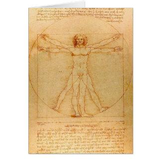 Cartão Anatomia humana, homem de Vitruvian por Leonardo