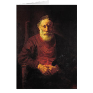 Cartão Ancião no vermelho - Rembrandt