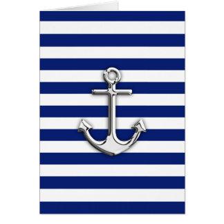 Cartão Âncora do cromo em listras do marinho