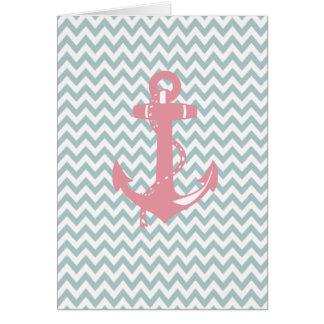 Cartão Âncora náutica cor-de-rosa azul de Chevron
