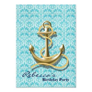 Cartão âncora náutica do marinheiro do damasco de
