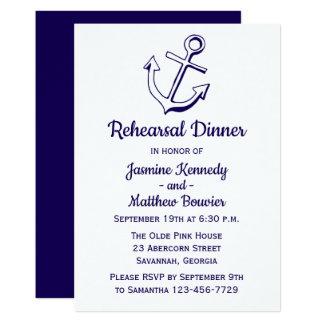 Cartão Âncora náutica do navio do jantar de ensaio dos