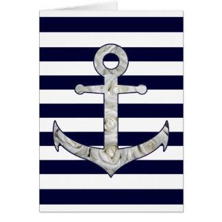 Cartão Âncora náutica do rosa branco