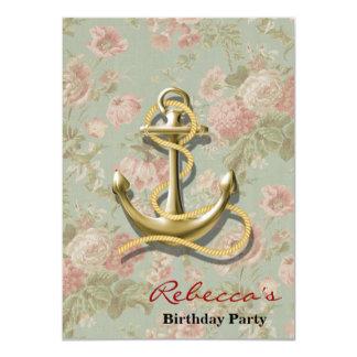 Cartão âncora náutica feminino floral do país francês